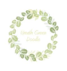 greenery doodle leaf wreath vector image