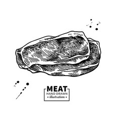 ham slice drawing hand drawn hamon or pork vector image