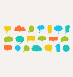 hand drawn speech bubbles doodle text shapes vector image