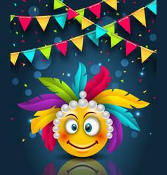 happy carnival festive banner smile emoji with vector image