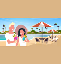 happy couple drinking cocktails relaxing by vector image