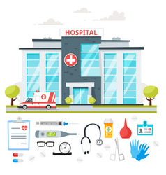 Hospital building with ambulance car vector