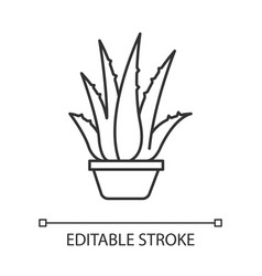 Houseplant pixel perfect linear icon potted aloe vector