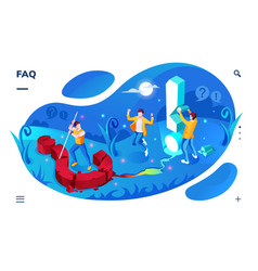 isometric screen for faq landing page faq app vector image