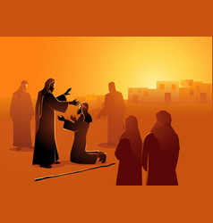 Jesus heals blind man vector