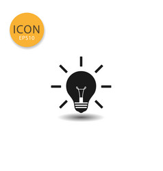 light bulb lamp icon isolated flat style vector image