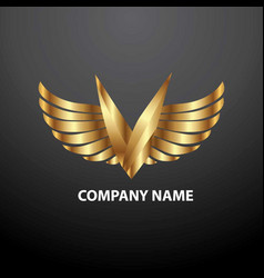Logo v angel vector