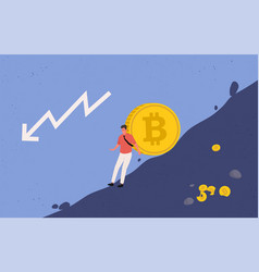 Miner trying to hold big bitcoin coin vector