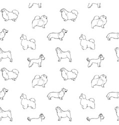 Monochrome seamless pattern with dogs of various vector