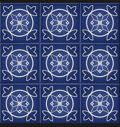 Moroccan portuguese tiles azulejo ornaments vector