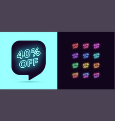 neon discount tag 40 percentage off offer sale vector image