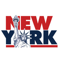 new york city and statue of liberty usa symbol vector image