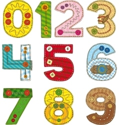 Numbers in Patchwork Style vector
