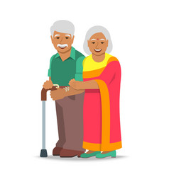 Old couple indian man and woman standing together vector