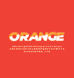 Orange and white separated alphabet or letter vector
