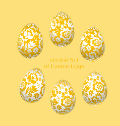 Pale yellow easter egg decoration floral vector