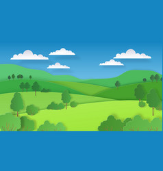 Paper cut landscape nature green hills fields vector