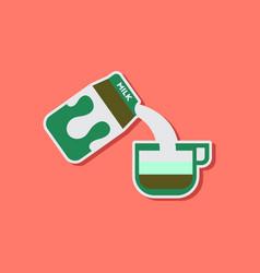 Paper sticker on stylish background coffee carton vector