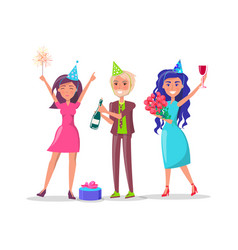 people in festive dresses celebrate birthday party vector image