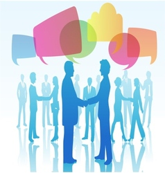 Person shaking hands with speech bubbles vector image