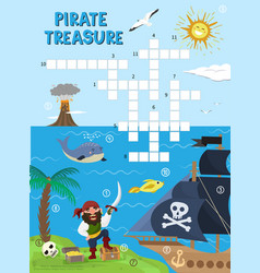 Pirate treasure adventure crossword puzzle maze vector