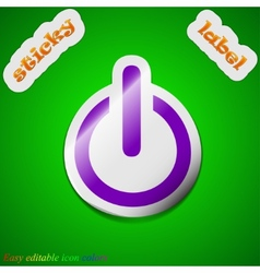 Power icon sign Symbol chic colored sticky label vector image vector image