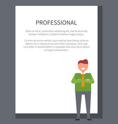 professional businessman poster with smiling man vector image