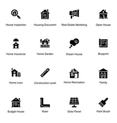 real estate equipment solid icons pack vector image