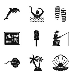 Riverbank icons set simple style vector