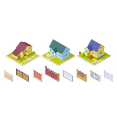 rural houses and fences isolated outdoor design vector image