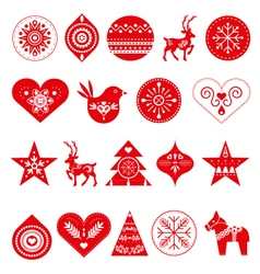 Scandinavian Christmas decorations vector