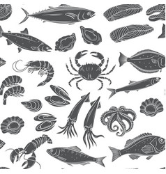 Seafood seamless patter vector