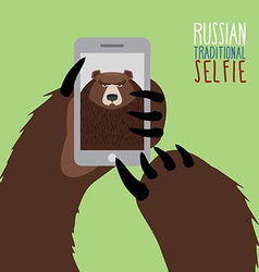 Selfie in Russia Bear selfie Bear paw holding a vector image