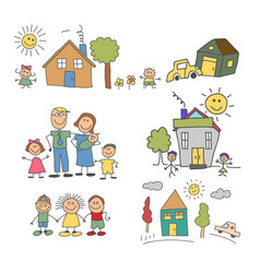 set element happy family doodle colorful vector image