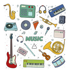 Set of a musical instruments colorful vector