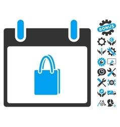 Shopping Bag Calendar Day Icon With Bonus vector