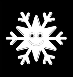 Snowflake smiley baby face cute winter white snow vector