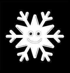 Snowflake smiley baface cute winter white snow vector