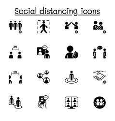 Social distancing icons set graphic design vector