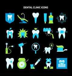 Stomatology and teeth care icon set in flat style vector