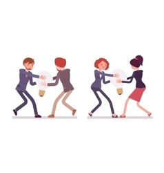 Struggle between businessmen and women for a lamp vector