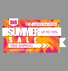 summer sale banner with tropical exotic palm vector image