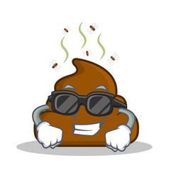 Super cool poop emoticon character cartoon vector