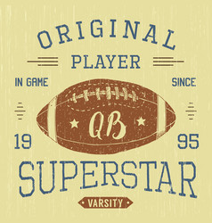 t-shirt design football quarterback superstar vector image