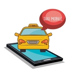 Taxi mobile smartphone app icon vector