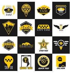 Taxi retro car yellow icons vector