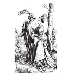 The knight and the lady from the engraving on vector