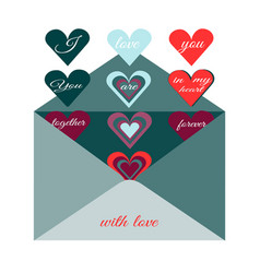 traditional postal envelope with romantic desire vector image