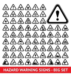 Triangular Warning Hazard Symbols Big set vector
