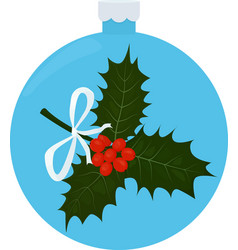 twig of holly with leaves and berries in blue vector image